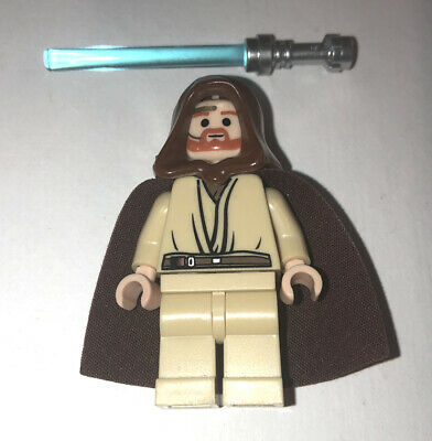 LEGO STAR WARS OBI-WAN KENOBI MINIFIG MINIFIGURE LIGHTSABER HOOD CAPE HEADSET