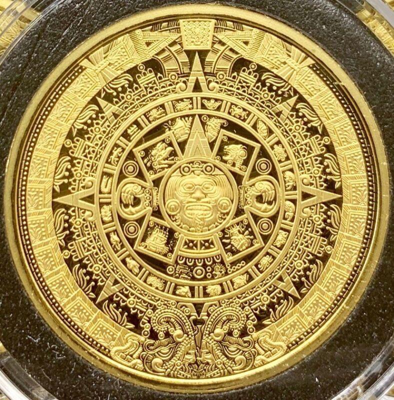 *NEW* 2020 Aztec Calendar Sun Stone Eagle Warrior Gold 1 oz .9999 Cuauhtemoc BU!