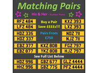 Matching Pairs/Sets of Dateless Personal Private Registration Number Plates From £750 Incl Transfer