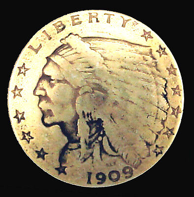 """LOT OF 6 PCS INDIAN HEAD GOLD $2.50 COIN REPRODUCTION CONCHO 3/4""""  9235 A GRTP"""
