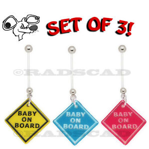 3 x BABY ON BOARD PREGNANCY MATERNITY PIERCING navel bar belly ring flexible B9