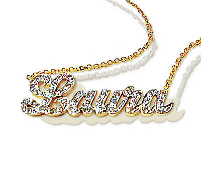 - Diamond Name Necklace Custom 14k Gold Charm Personalized Jewelry Gift for Her