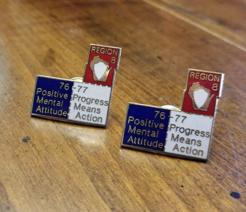 Lot 2 Vintage Jaycees JCI PIN Region8 1976-77 Positive Mental Attitude Progress