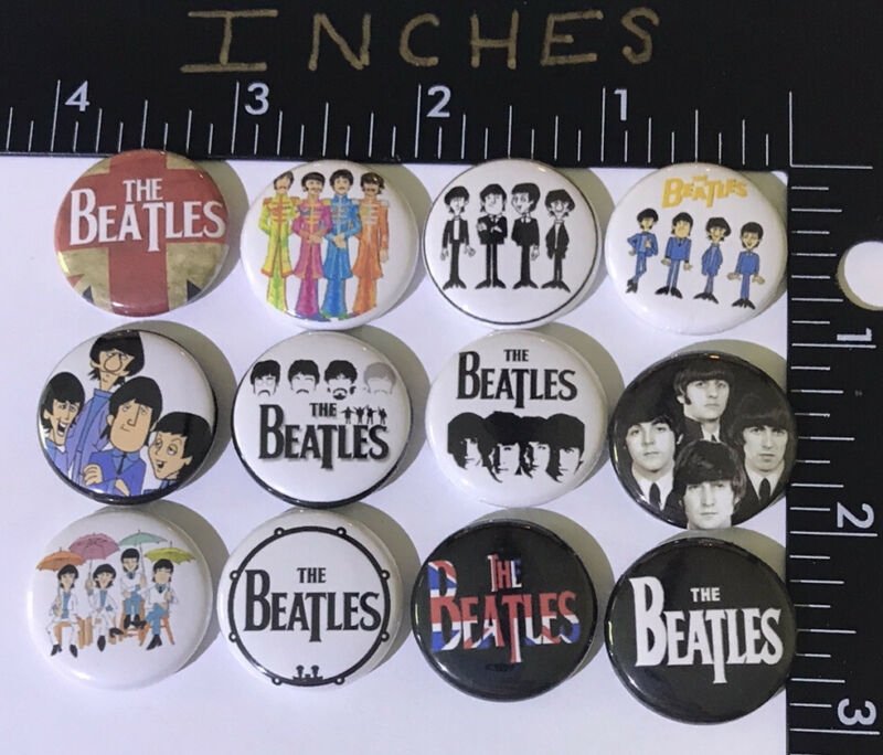 The Beatles 1 Inch Pin Set 12 Pins John Paul Classic Rock English Button Cartoon