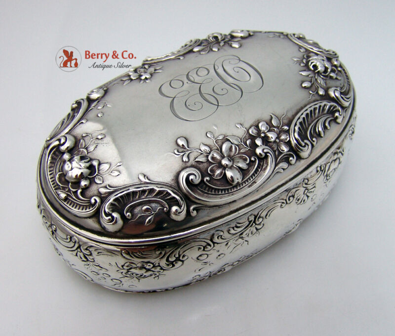 Rose And Scroll Dresser Box Gorham Sterling Silver 1890