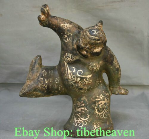 """12.2"""" Old China Bronze Ware Silver Dynasty Hunni People Man Dancing Sculpture"""