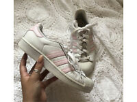 ADIDAS BABY PINK SUPERSTAR TRAINERS