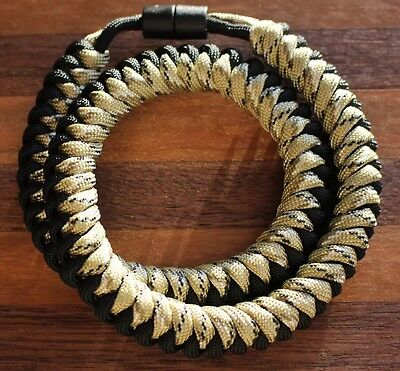550 Paracord Snake Weave Survival Necklace Desert Camo/Black (21 inches)