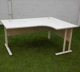 Cantilever style white radial curved desks cheap office furniture harlow essex london