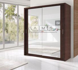 Brand New Berlin 2 or 3 Door Sliding Wardrobe Full Mirror, Shelves & Rails in Black White Oak Grey