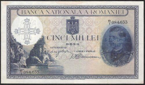 ROMANIA 5.000 LEI 1940 P:48b VF