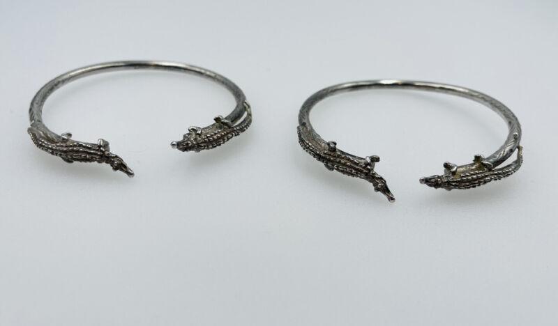 Vintage Pair Trinidad HandMade Sterling Silver Alligator Ornate Design Bracelets