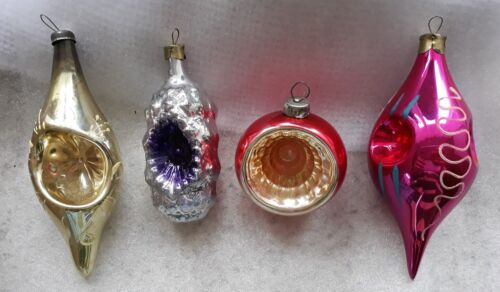 Four Vintage Soviet Christmas ornaments with indent # 39
