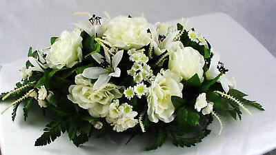 Wedding Reception Table Centerpieces (Centerpiece Wedding Reception Silk Table Flower Roses Lily Ivory White)
