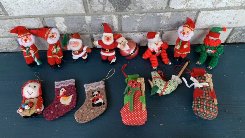 Vintage Lot If 14 Christmas Santa Mixed Ornaments