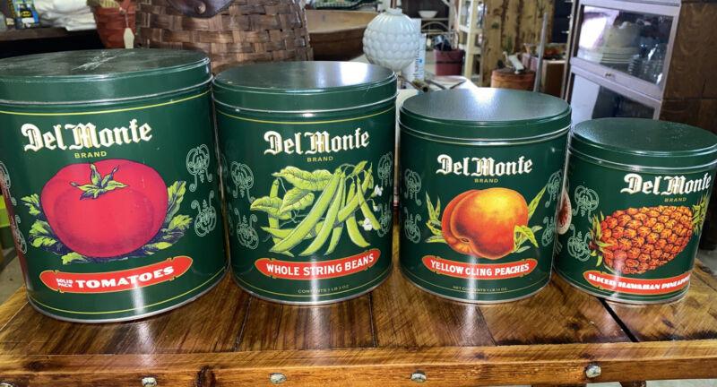 Vintage Del Monte 4pc Metal Advertising Canister Set Stacking Nice Shape