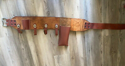 Lineman Buckingham Heritage Belt 4 Leather Ring Pole Climbing Body Belt - 41.5