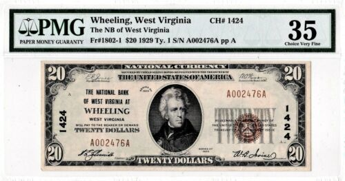 $20 1929 T1 National WHEELING West Virginia WV PMG 35 Choice Very Fine!
