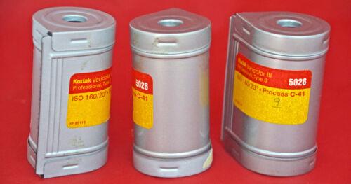 3 Kodak 70mm Film Cassettes Complete w/ Spools & Clips, Clean Low Use Units.