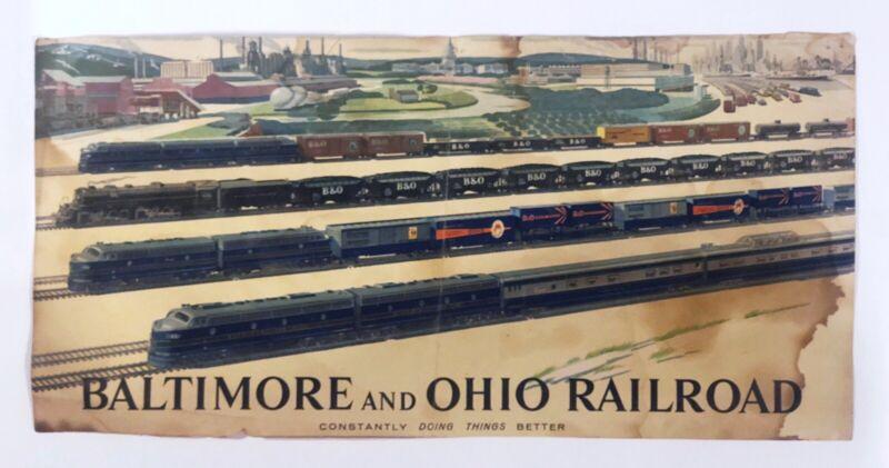 Vintage 1950s  Baltimore & Ohio Railroad Poster w Trains