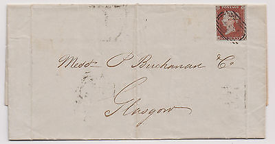 Great Britain Scott number 3 on complete letter Glasgow to Liverpool 1844 |