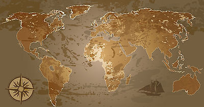world map atlas globe earth compass art print photo canvas poster painting