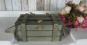 SMALL SHABBY VINTAGE RUSTIC WOODEN BOX CRATE CHEST & LID - STORAGE, WEDDINGS