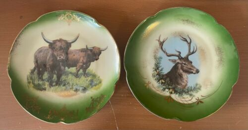"""Antique Hand Painted Pair 8"""" Wall Plates Chargers Deer Elk Bison Buffalo Vintage"""