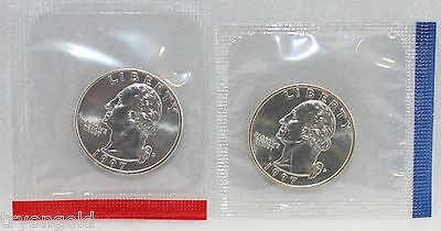 1997 P D WASHINGTON QUARTERS BU IN US MINT CELLO   2 COIN SET