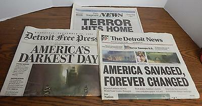 The Detroit News   Detroit Free Press Sept 12 2001 Newspapers 911 Coverage