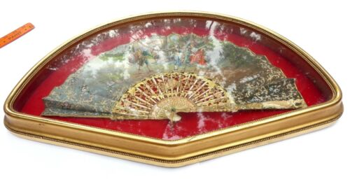 Vintage wooden frame & antique French hand painted folding fan