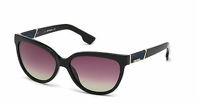Diesel Womens Denim Shiny Black Sunglasses Gradient Brown Lens DL0101 01F