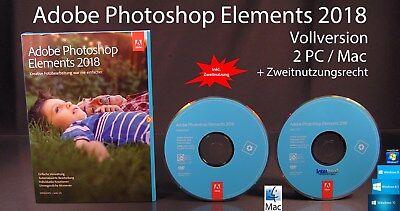 Adobe Photoshop Elements 2018 Vollversion Box + DVD Win/Mac + Anleitung OVP NEU