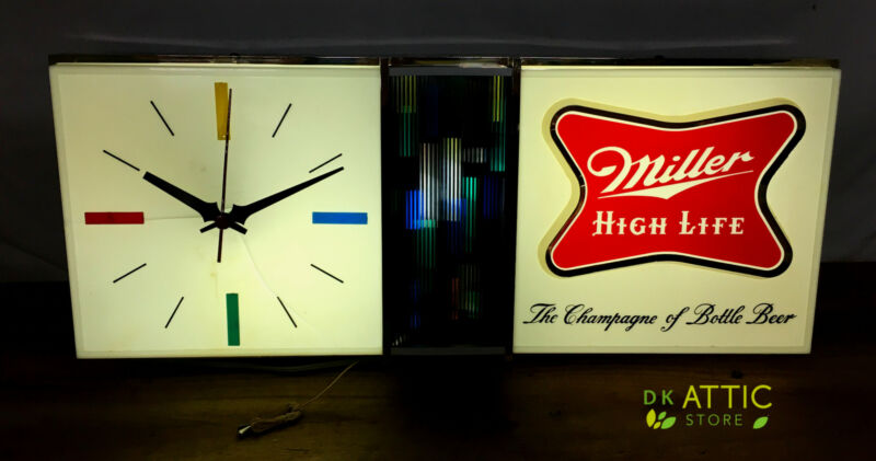 Vintage Lighted Miller High Life Beer Sign with Clock - 1960s  See Photos!