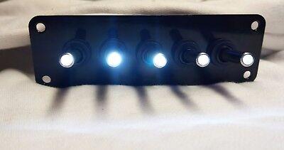 5 Hole Black Powder Coat Panel W 5 Led Toggle Switches - White
