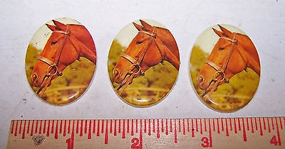 3 Vintage HORSE Decorative Medallions for Crafts Art Jewelry