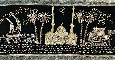 "Vintage WW2 1945 Souvenir of Egypt Table or Dresser Runner 30"" X 13"""