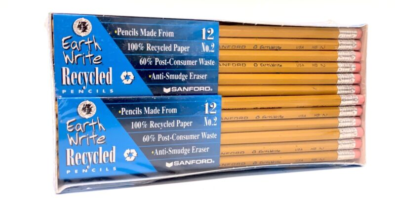 48 Ct. 1998 Sanford Earth Write Recycled Pencils - Anti-Smudge Eraser #2 NIB