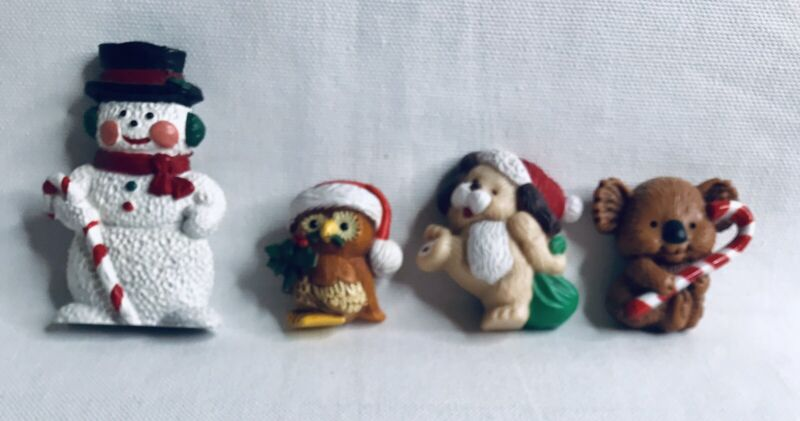 Lot of 4 Vintage Holiday Christmas Resin Pins & Magnets Snowman Owl Koala Dog