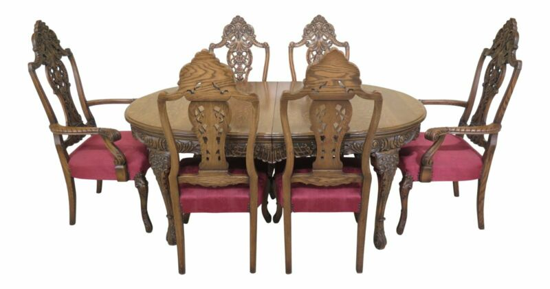 L30743/44EC: Vintage French Carved Oak Dining Room Table & Chairs Set