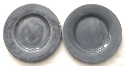 Pottery Barn Sausalito Two Large Gray Dinner Plates - Large Dinner Plates