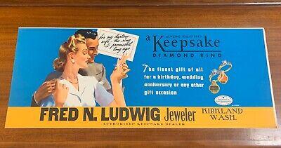 1940s Jewelry Styles and History Original 1940's Keep Sake Diamond Ring Kirkland WA Jewelers Sign  $60.00 AT vintagedancer.com