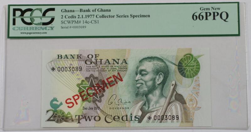 2.1.1977 Bank of Ghana 2 Cedis Specimen Note SCWPM# 14c-CS1 PCGS 66 PPQ Gem New