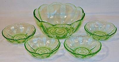 Vintage Dessert Bowl Set in Clear Green Glass