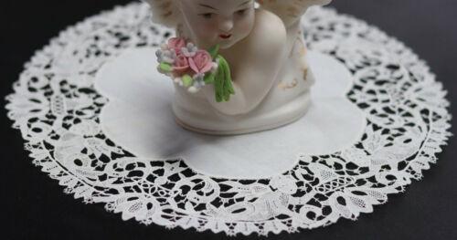 """Antique Point de France Sedan needle lace Doily 9"""" Angels Cherubs Seraphim"""