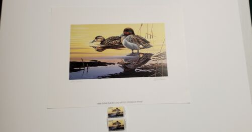 1994 Iowa Ducks Unlimited Sponsor Stamp Print DIETMAR KRUMREY LE Signed 2 Stamps - $70.00