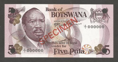 Botswana 5 Pula N.D. (1976); UNC; P-3s, L-B103as; SPECIMEN; Gemsbok Antelope