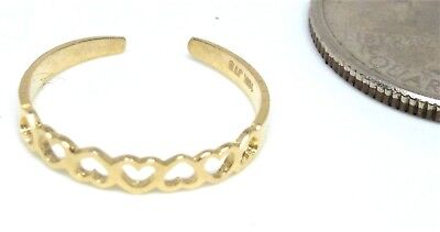 10KT PURE SOLID GOLD ADJUSTABLE OPEN REVERSED HEARTS TOE RING!