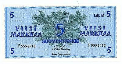 """Finland ... P-106Aa ... 5 Markkaa ... 1963 ... *UNC* .. Prefix """"F"""" Signs Variety"""