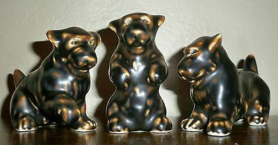 Danish Modern Royal Copenhagen Jeanne Grut Knud Kyhn Stoneware Terrier Dog Trio